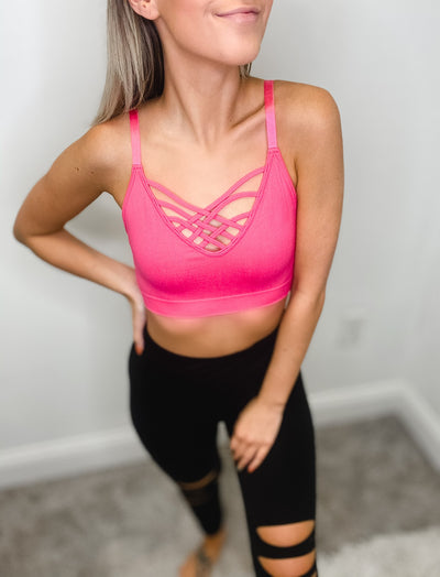 hot pink workout bralette