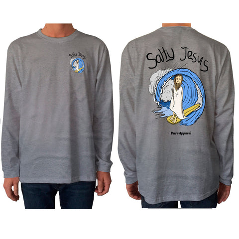 Salty Jesus (Full Colour) - Long Sleeve - pure apparel and surf