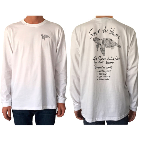 Save the Waves (Green Sea Turtle) - Long Sleeve - pure apparel and surf