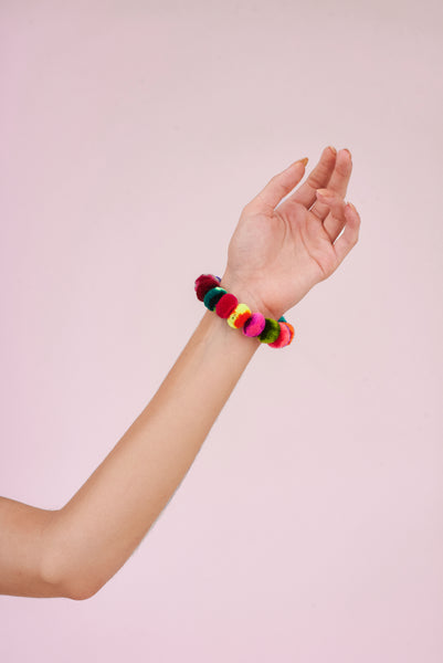 Pompom Bracelet and Hair Scrunchie