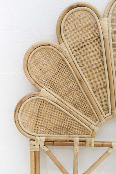 Wicker Rattan Petal Headboard