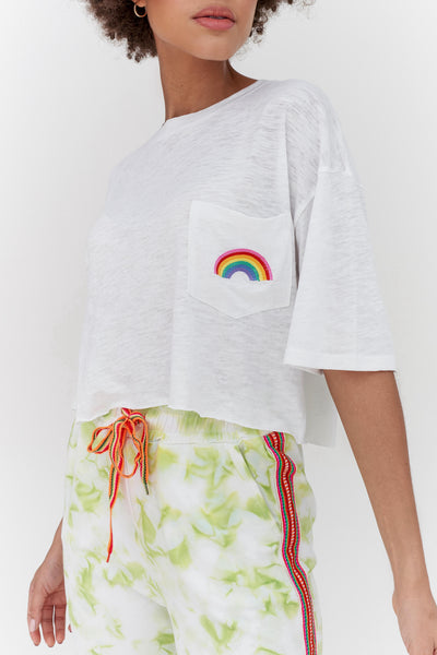 Embroidered Rainbow Crop Top