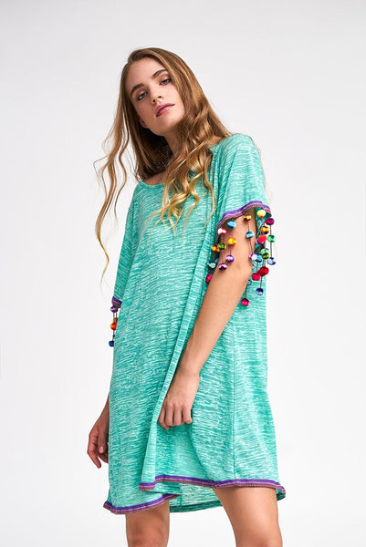 Pom Pom Sleeve Dress