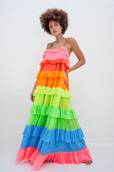 Rainbow Ruffle Tiered Dress