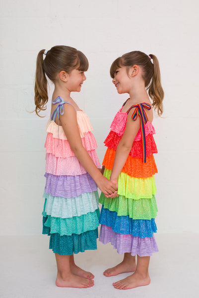 Kids Rainbow Tiered Dress