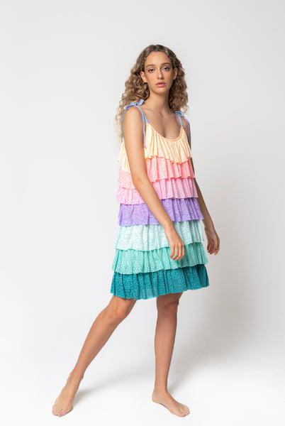 Rainbow Tiered Mini Dress