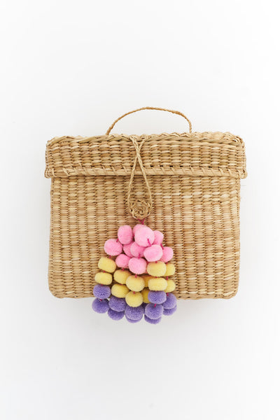 Pom Pom Luncheon Straw Bag