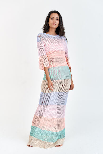 Rainbow Crochet Maxi Dress