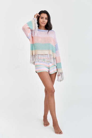Rainbow Crochet Long Sleeve Top