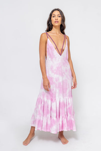 Tie Dye Strappy Midi Dress