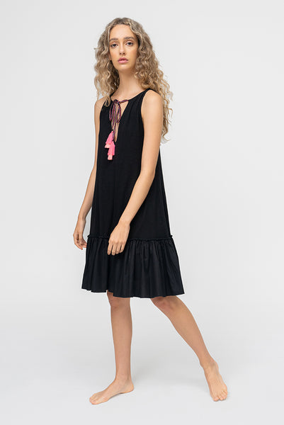 Keyhole Tassel Tie Dress