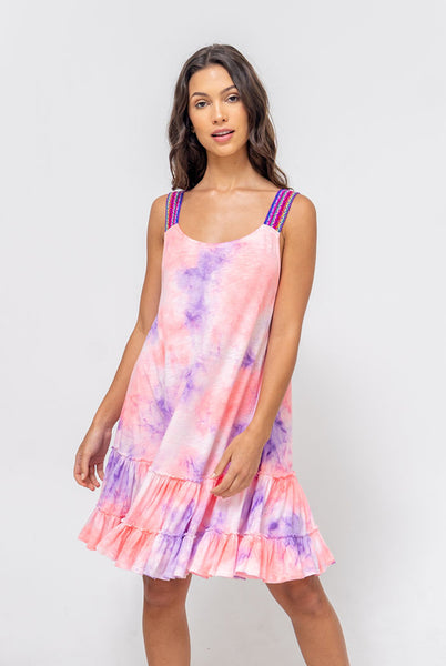 Tie Dye Gathered Mini Dress