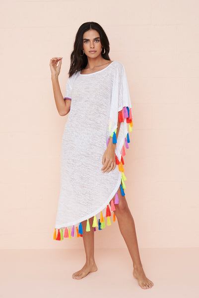 Rainbow Tassel Slit Dress