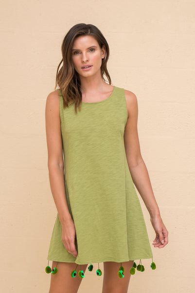 Avocado Pom Pom Dress
