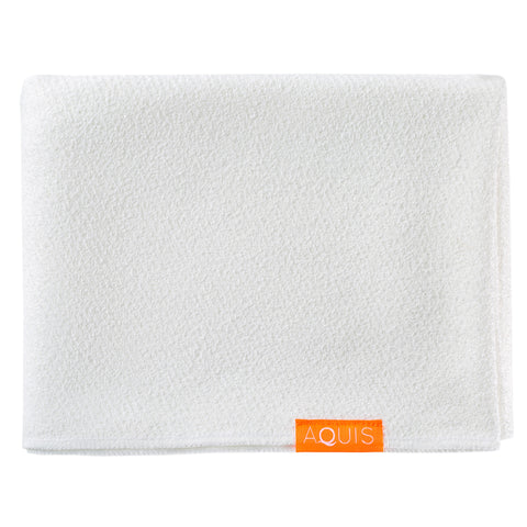 Aquis Lisse Luxe Long Hair Towel - Ivory White