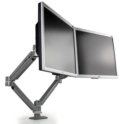 UpDown Dual Monitor Double Extension Arm | Silver