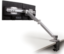 UpDown Dual Monitor Arm with Cross Bar | Silver