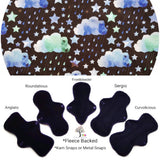 CHEECOLICIOUS Cotton Jersey Cloth Pads - Fleece Backed - Blue Kaleidoscope Sky Jersey Cloth Sanitary Pad