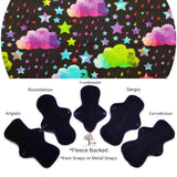 CHEECOLICIOUS Cotton Jersey Cloth Pads - Fleece Backed - Kaleidoscope Sky Jersey Cloth Sanitary Pad