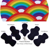 CHEECOLICIOUS Cotton Jersey Cloth Pads - Fleece Backed - Organic Homosapien Rainbows Cotton Jersey Cloth Pad