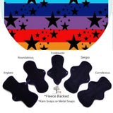 CHEECOLICIOUS Cotton Jersey Cloth Pads - Fleece Backed - Organic Rainbow Stripe And Stars Cotton Jersey Cloth Pad