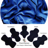 Fleece Backed - Blue Cotton Velour Reusable Cloth Pad