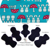 CHEECOLICIOUS Woven Cotton Cloth Pads - Fleece Backed Reusable Cloth Pad - Spring Bunnies Woven Cotton