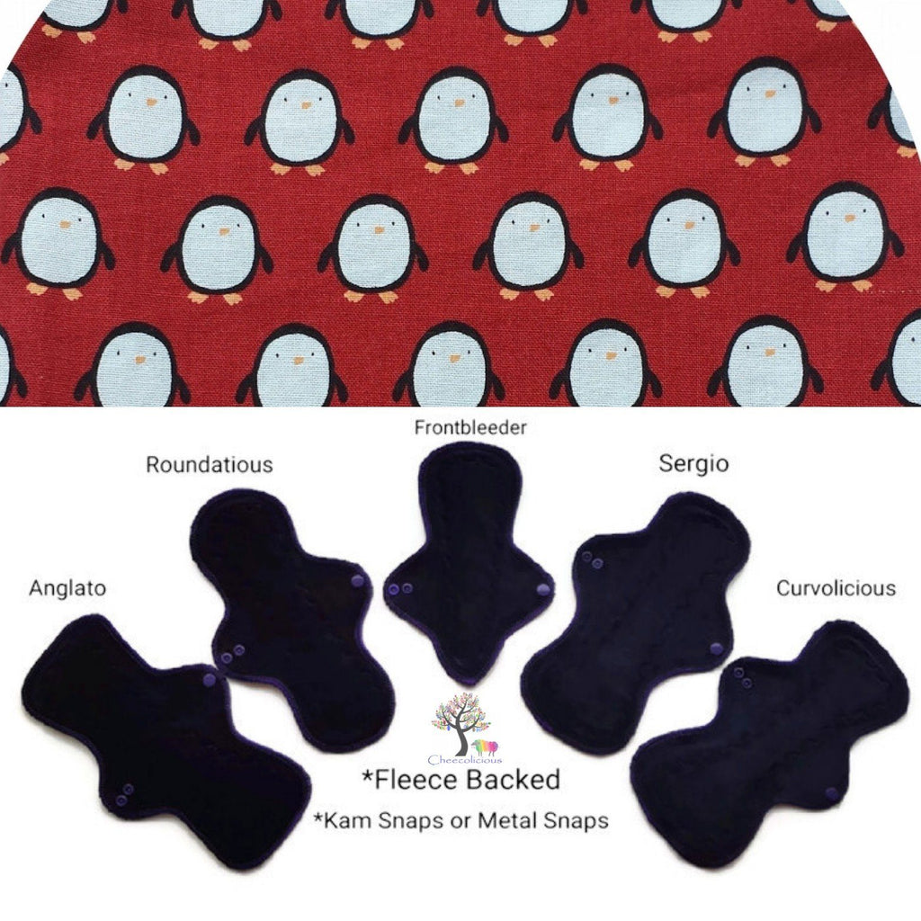 CHEECOLICIOUS Woven Cotton Cloth Pads - Fleece Backed Reusable Cloth Pad - Wonderland Penguins Woven Cotton