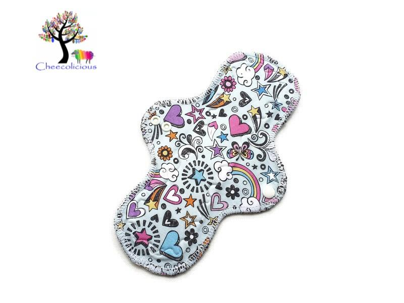 "Instock Cloth Pads - Cheecolicious - 10"" Classic - Moderate - Cloth Pad - Fleece Backed"
