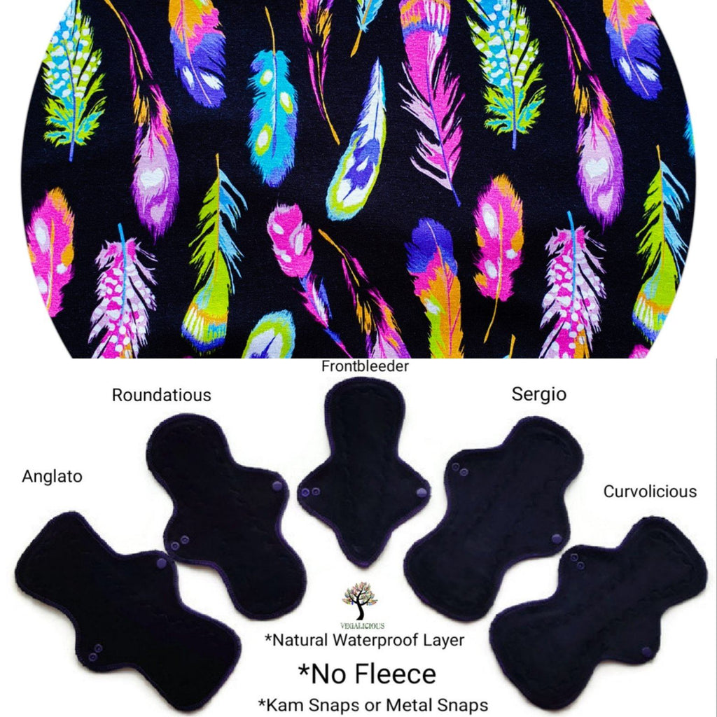 VEGALICIOUS Cotton Jersy Cloth Pad - Plastic Free - Organic Mini Feathers Cotton Jersey  Reusable Cloth Pad