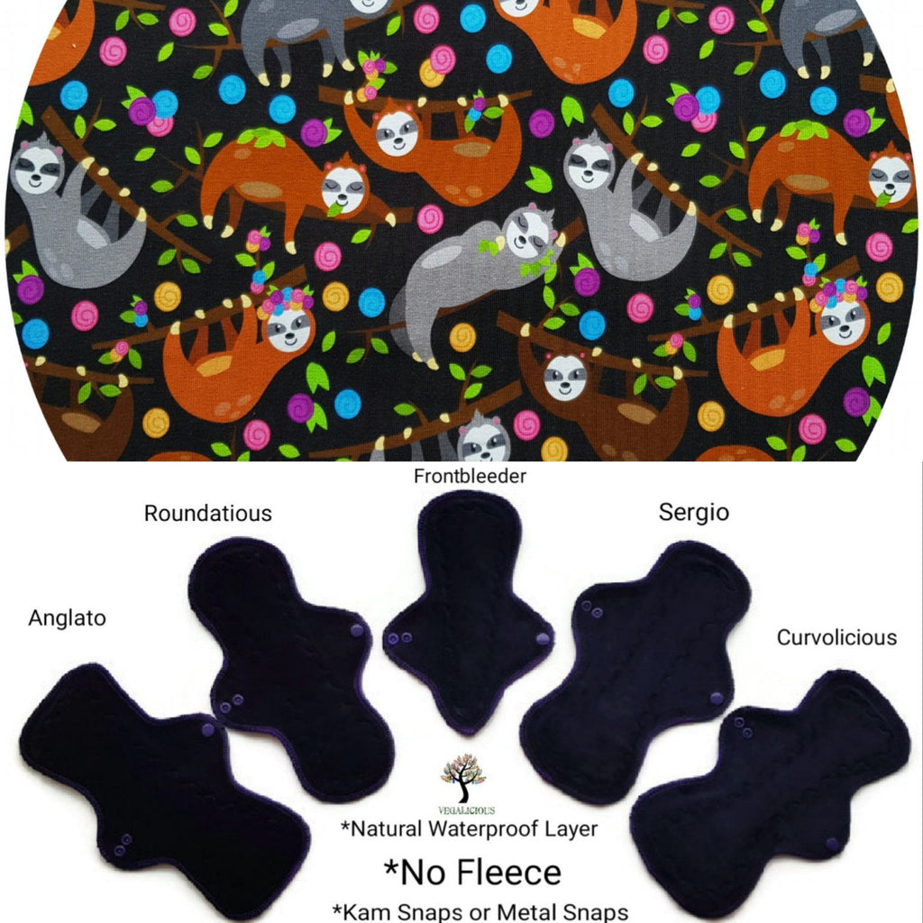 VEGALICIOUS Cotton Jersy Cloth Pad - Plastic Free - Organic Sleepy Sloths Jersey  Reusable Cloth Pad