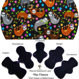 Plastic Free - Organic Sleepy Sloths Jersey  Reusable Cloth Pad
