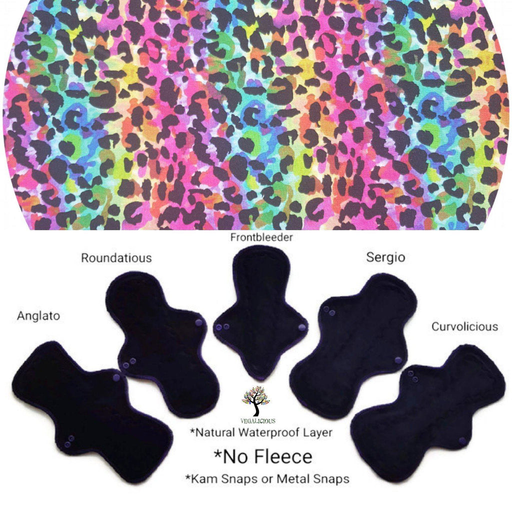 VEGALICIOUS Cotton Jersy Cloth Pad - Plastic Free - Rainbow Leopard Jersey Cloth Sanitary Pad
