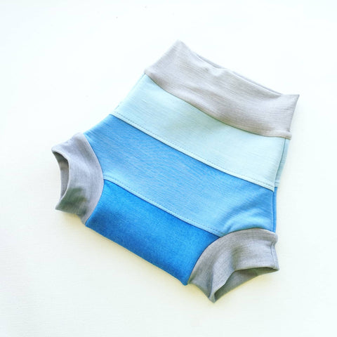 Wool Soakers - Tri-Colour Blue Soaker - Organic Wool Interlock Nappy Cover