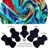 Organic Wool Backed Cloth Pad - Rainbow Swirl Bamboo Viscose Velour