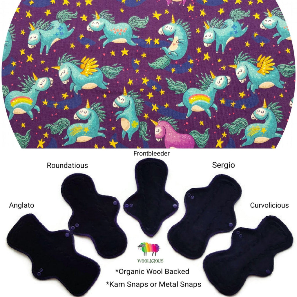 WOOLICIOUS - Cotton Jersey Cloth Pads - Organic Wool Backed - Dancing Unicorns Organic Cotton Jersey Cloth Pad