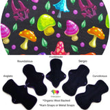 Organic Wool Backed - Psychedelic Mushrooms  Organic Cotton Jersey Cloth Pad
