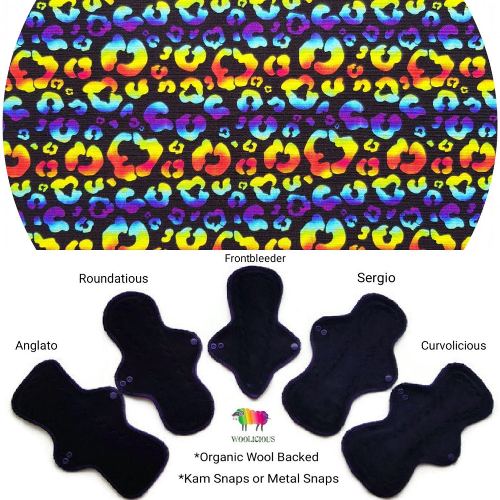 WOOLICIOUS - Cotton Jersey Cloth Pads - Organic Wool Backed - Rainbow Leopard Organic Cotton Jersey Cloth Pad