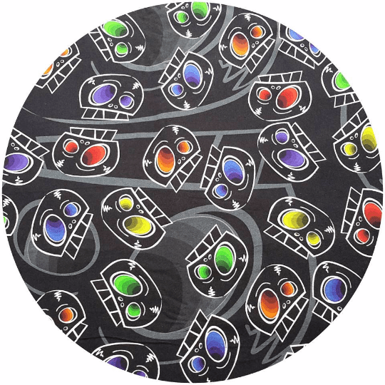 WOOLICIOUS - Cotton Jersey Cloth Pads - Organic Wool Backed - Rainbow Skulls Cotton Jersey Cloth Pad