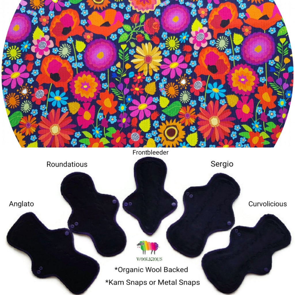 WOOLICIOUS - Cotton Jersey Cloth Pads - Organic Wool Backed - Vibrant Flowers Organic Cotton Jersey Cloth Pad