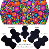 Organic Wool Backed - Vibrant Flowers Organic Cotton Jersey Cloth Pad