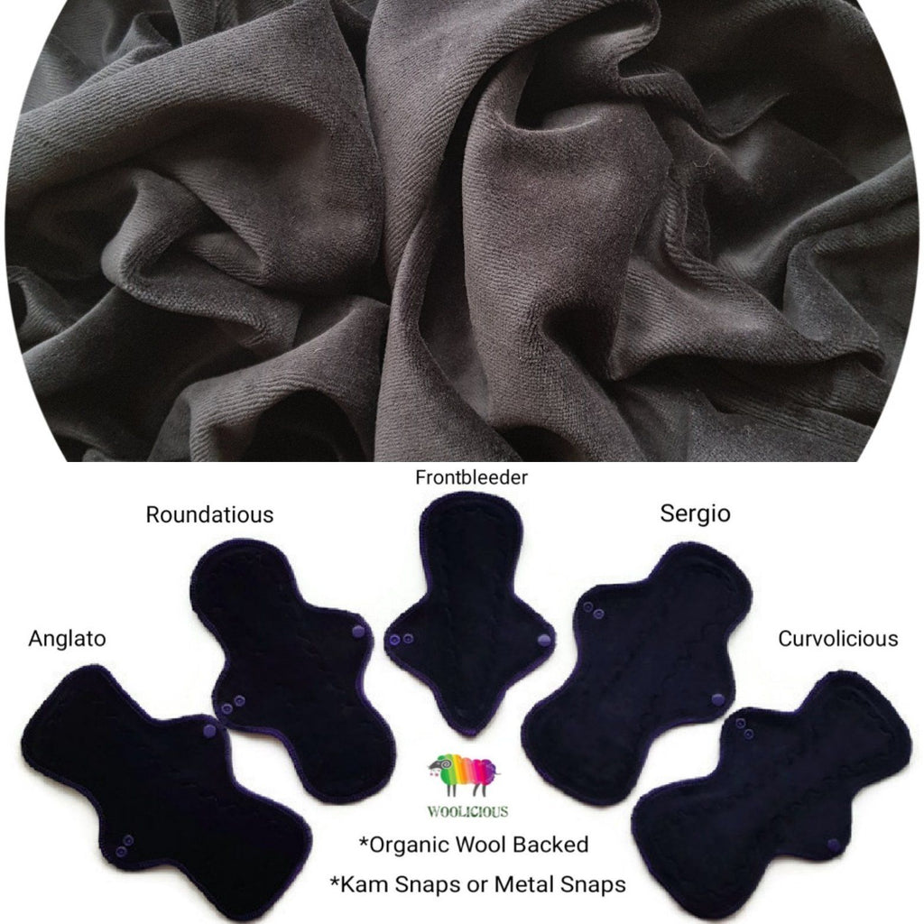 WOOLICIOUS - Cotton Velour Cloth Pads - Organic Wool Backed - Black Cotton Velour Washable Cloth Pad