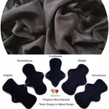 Organic Wool Backed - Black Cotton Velour Washable Cloth Pad