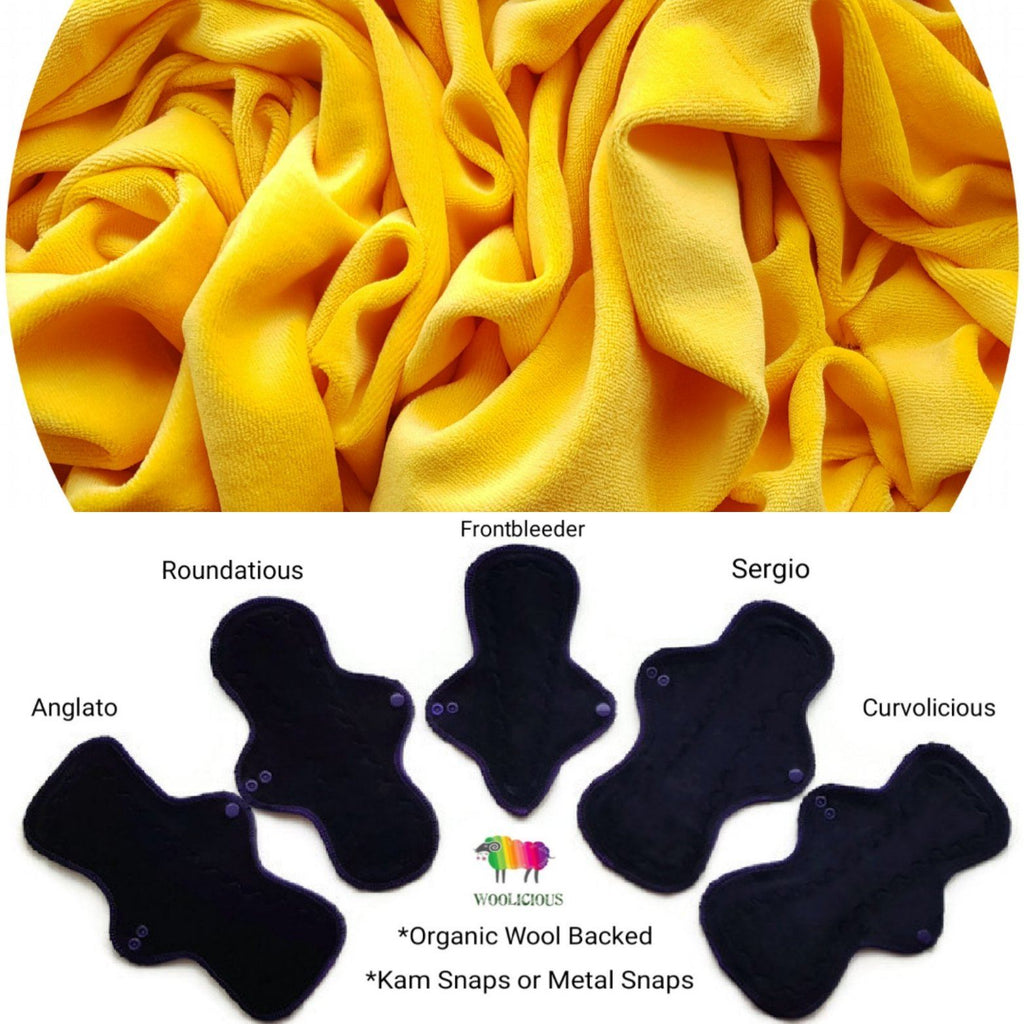 WOOLICIOUS - Cotton Velour Cloth Pads - Organic Wool Backed - Yellow Cotton Velour Washable Cloth Pad