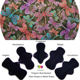WOOLICIOUS - Woven Cotton Cloth Pads - Organic Wool Backed - Fireflies Woven Cotton Reusable Cloth Pad
