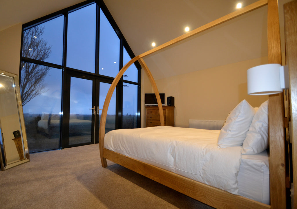 Modern Oak Four Poster Bed made by Abowed.co.uk