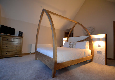 Modern Four Poster Bed handmade in solid oak
