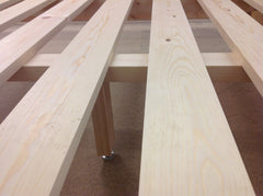 Strong Bed Base, sturdy bed slatts on Abowed handmade bed.