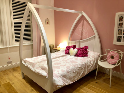 White Wooden Four Poster Bed