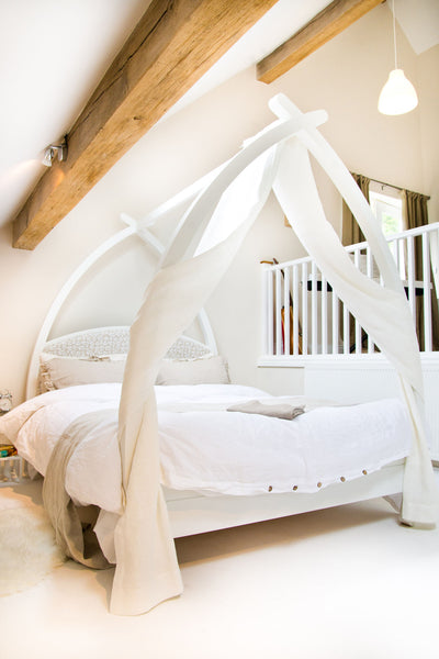 Contemporary white  four poster bed
